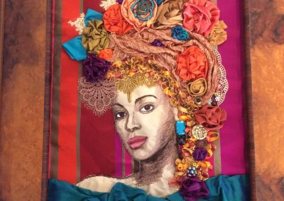 Machine embroidered portrait of Beyonce Knowles