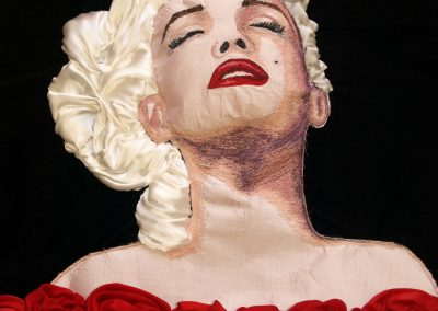 Machine embroidered portrait of Marilyn Monroe